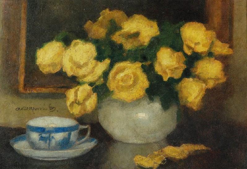 Żółte róże i filiżanka