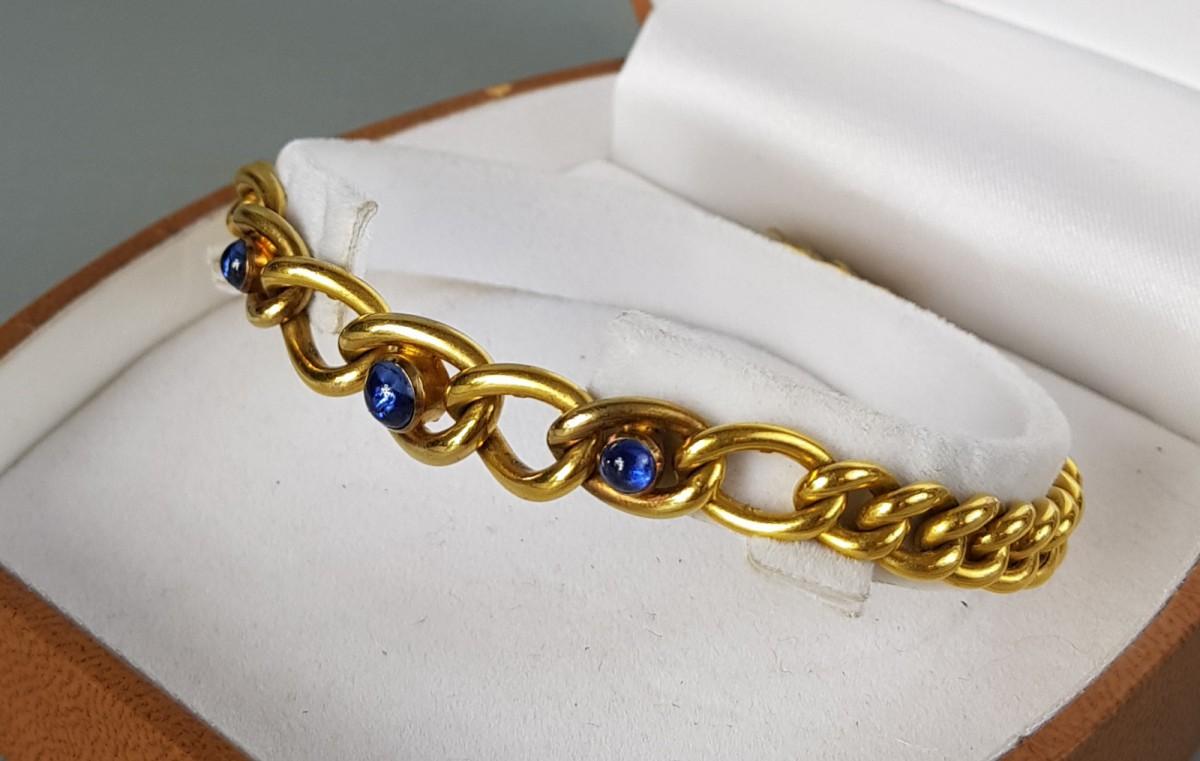 Złota bransoleta z szafirami