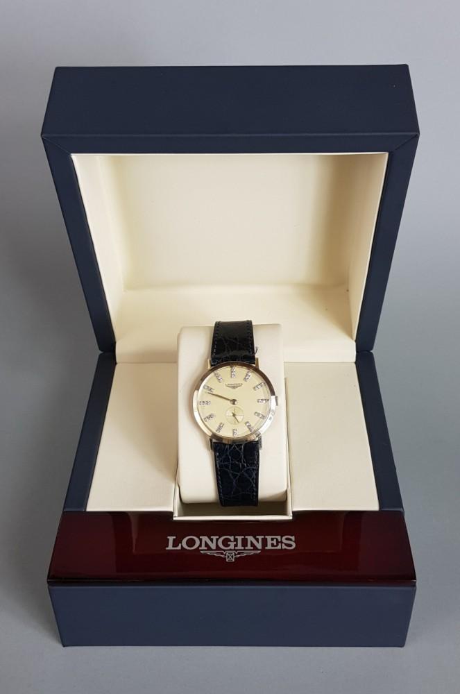 Zegarek Longines z diamentami.