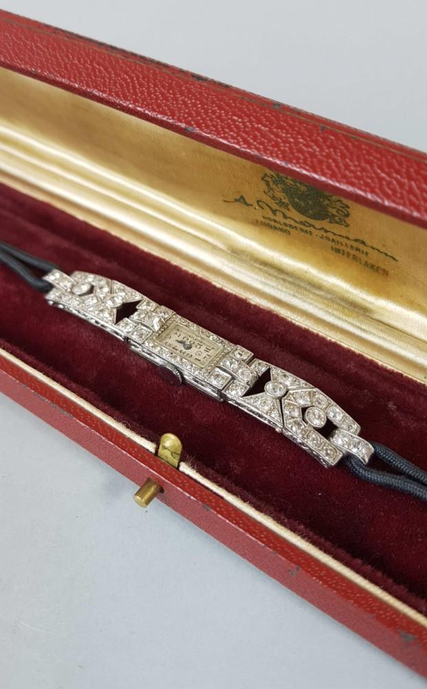 Zegarek platynowy Art Deco