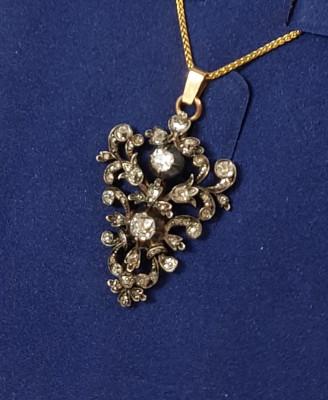Wisior srebrno-złoty diamenty XIX/XX w.